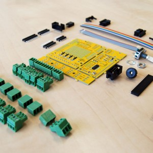 There are all the parts included with a RevC BrewPi Arduino shield kit