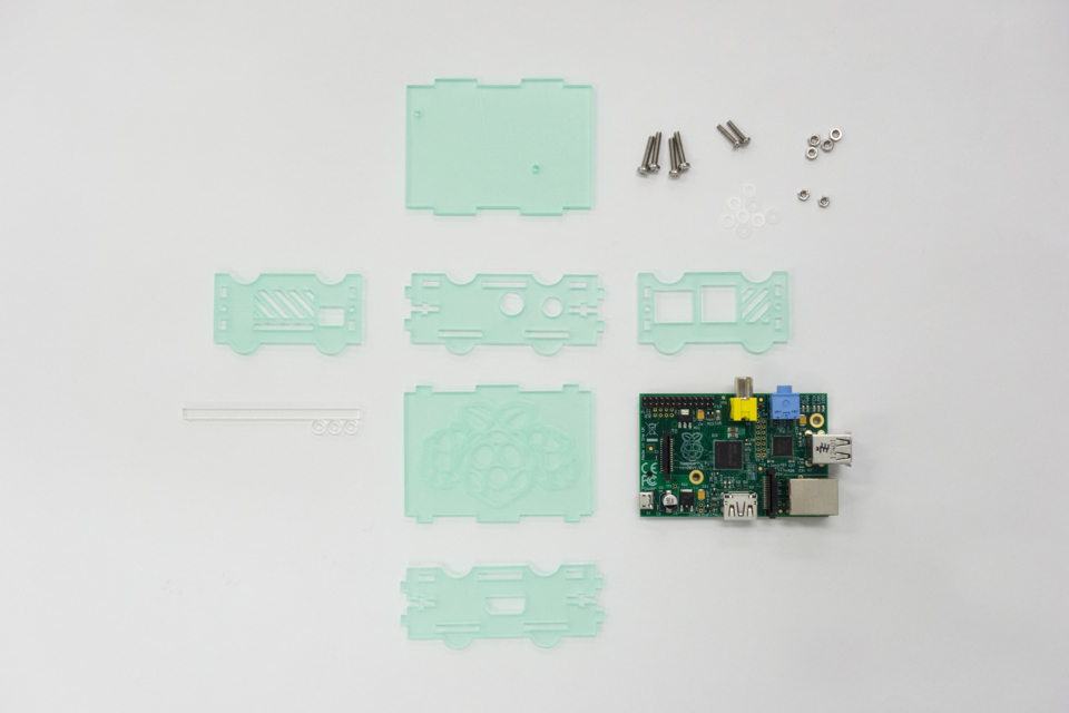 Parts to assemble the Raspberry Pi case