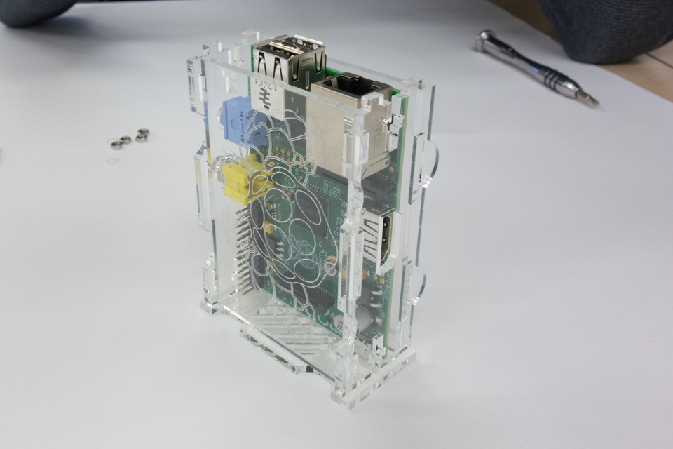 Raspberry Pi case standing on its side