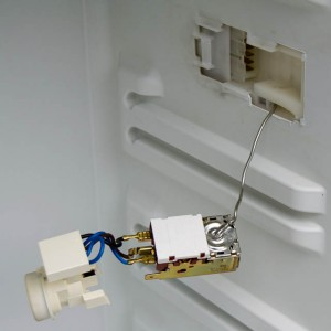 The bare thermostat, light fixture and connector.