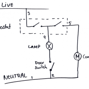 Fridge schematic with thermostat, lamp and compressor, simplified