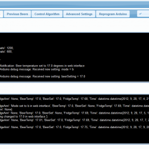 log files in the web interface
