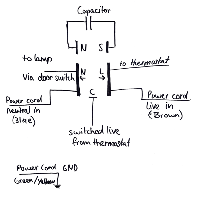 This diagram shows all the original connections to the starter relay.