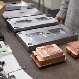 Injection mold with sparking probes